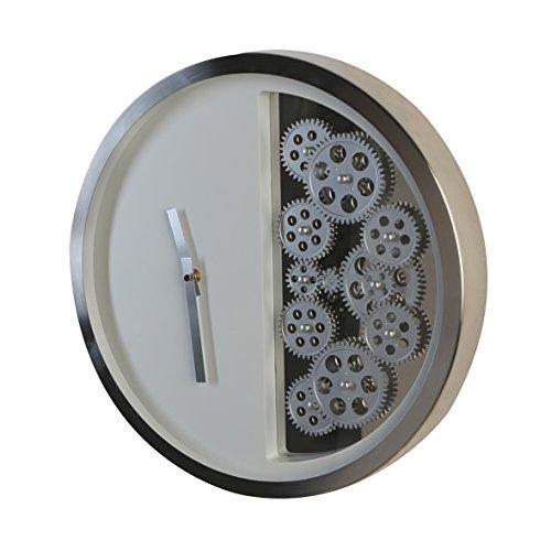 Casablanca - Uhr Zahnräder Edelstahl gebürstet bewegende Zahnräder aus hochwertigem ABS Kunststoff weiß silberfarbene Zeiger 2 Babyzellen (Typ C)
