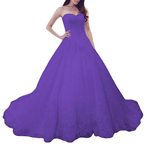 O.D.W Damen Spitze Lange Mehrfarbig Vintage Brautkleider Gotisch Hochzeitskleider