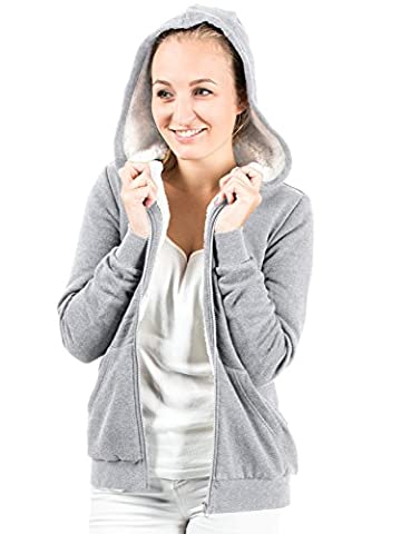 Casual Standard Ladies Plain Hoodie Womens Hooded Sweatshirt Fleece Jacket Sweater (M, lightgrey)