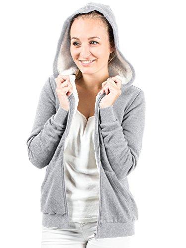 Casual Standard Damen Kuscheljacke Sweatjacke Hoodie Kapuzenpullover (M, grey)