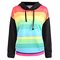 Linkay Rainbow Hoodie Women Long Sleeve Print Autumn Spring Crowl Neck Sweatshirt Hooded Tops Fashion 2019