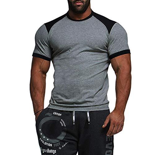 a3e8cd59e3bac9 Leey Mode Hommes Casual Top Shirt Mixte Couleur Impression À Manches  Courtes Col Rond Slim Fit