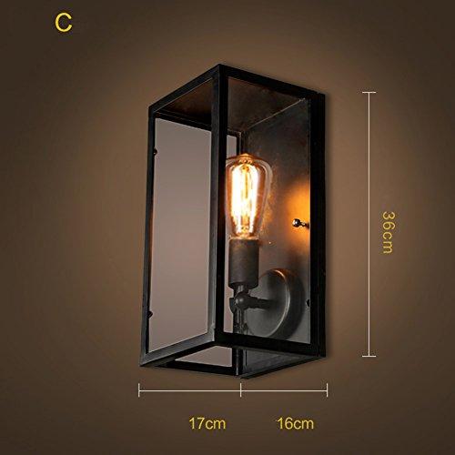 Retro metall glas wand laterne,Europäische outdoor- Vintage Industrielle wandlampen wandleuchten beleuchtung Edison einfach wandleuchte mount Einkopf Lampe Für gang wohnzimmer bed head treppe im freien -C 16x17x36cm(6x7x14) (Bronze-wand-laterne)