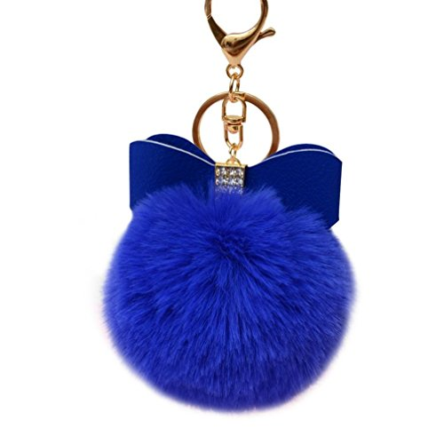 Keychain Key Ring Pendant,Sainagce 1 Pcs Elegant Bowknot Fluffy Plush Faux Fur Pom Pom Key Pendant Key Chain Key Ring Keychain Keyring for Car Handbag Bag Accessories Small Gift (Blue)