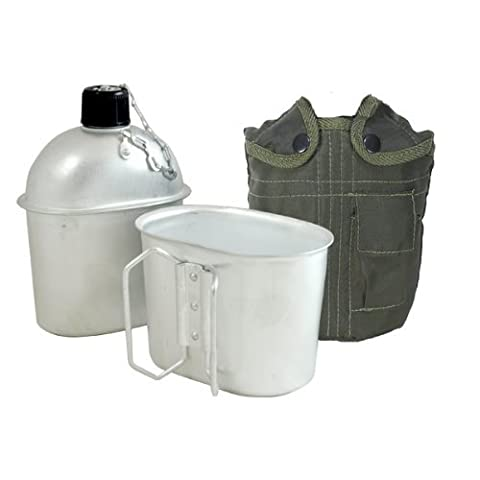 Fury G.I. Style Aluminum Canteen with Cup and Cover, 1