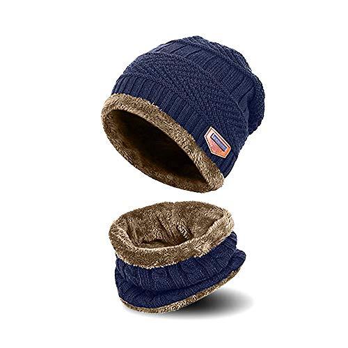 AYAMAYA Kinder Mütze Beanie und Schal Set - (5-14 Jahre) Warme Wintermütze Strickmütze Beanie für Jungen Mädchen, Fleecefutter (Blau)