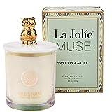La Jolie Muse Bougie Parfumées Cadeau de Noël Décor Cire Naturelle Pois Doux et Lys, Parfum Maison Iridescent 240g en Verre coloré Brillant