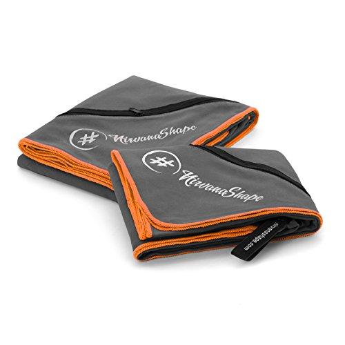 NirvanaShape 2er-Set Mikrofaser Handtücher | 70x140 + 60x120 | Reise, Fitness Badehandtuch