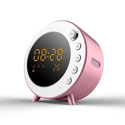 Unbekannt Wecker Kabelloser Bluetooth-Lautsprecher Tragbarer Subwoofer Player Karte Audio Home Kleine Tischuhr (Farbe : Rosa)