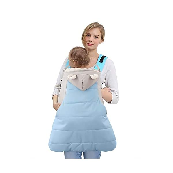SONARIN All Seasons Weather Thick Cover for Baby Carrier,Cloak for Winter Warm,Fit Any Baby Carrier,Windproof,Waterproof(Blue) SONARIN Material:The designer carefully selects high-quality polyester, and the inside is made of cotton velvet, which is windproof and warm. Size: 60*58CM (23.6*22.8 inches). Applicable to All:Front or backpack carrier or hipseat carrier. This baby carrier cover is easily to snaps onto any baby carrier. It can also be used as a blanket, quilt with baby stroller. Quality and Design:The cloak has two openings that allow the baby's feet to stretch.The cover can be adjusted according to each baby's body shape.Big convenience pocket keeps parent's hands warm and it's roomy enough to easily keep the daily things such as cell-phones, keys and so on. 4