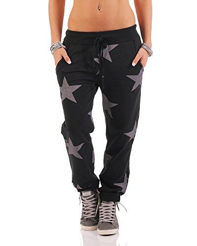 Zarmexx Damen Sweatpants Baggy Hose Boyfriendhose Freizeithose Jogginghose Fitness Sporthose Yogapants Jogger Loose Fit Big Star One Size