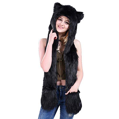 4a51e6590ea misslight Faux Fur Hat Sciarpa Guanti Mittens 3-in-1 Function Pocket Guanti  Long