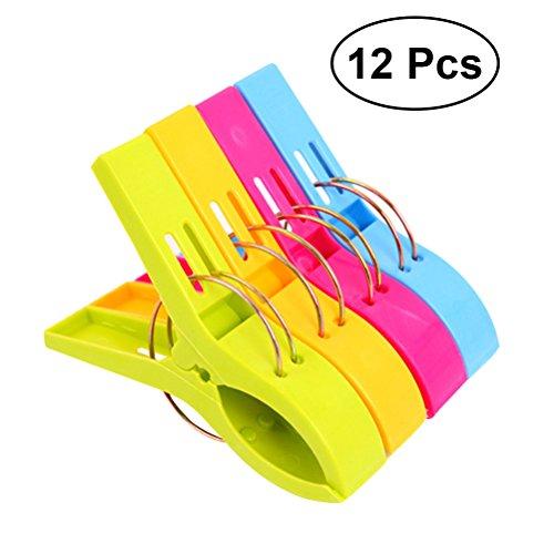 Ounona 12pezzi mollette in plastica grandi in colori brillanti clip di vestiti antivento pioli supporti per telo mare, trapunta, tappeto