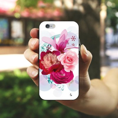 Apple iPhone X Silikon Hülle Case Schutzhülle Blumen Blüten bluete Silikon Case schwarz / weiß