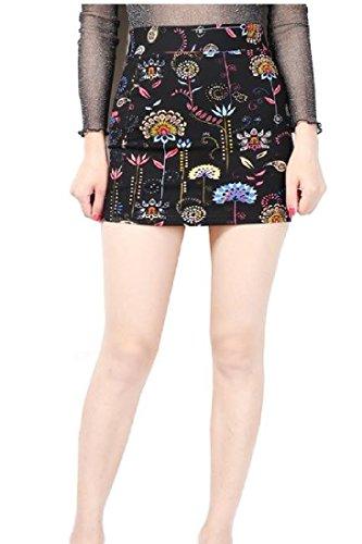 CuteRose Women's Hi-waist Skinny Flower Printed Party Sexy Mini Skirt Dress XS Black