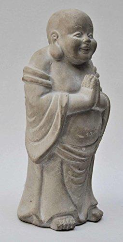 Buddha, Mönch, stehend, Beton grau, H 24 cm