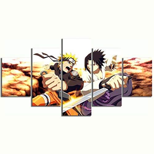 QJXX Leinwanddruck, Anime Naruto auf Leinwand, Wandbild für Zuhause, Wohnzimmer, Büro, Morden, Dekoration, Geschenk (Naruto VS Sasuke), B, 40cm*60x2+40x80x2+40x100x1