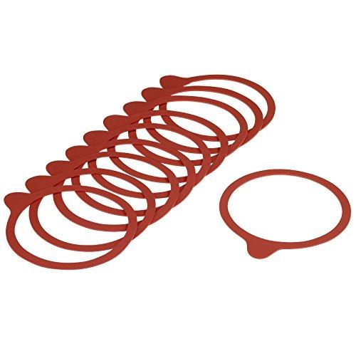10 Einkoch-Gummiringe mit Lasche für Einmach-/Weckgläser, Durchmesser: 9,4 cm, Kunststoff, Rot, 40212230