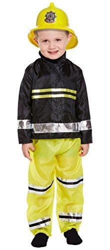 Jungen Feuerwehrmann Uniform Fancy-dress Kostüm Verkleiden Outfit 3-12 jahre - Schwarz, 3 Years
