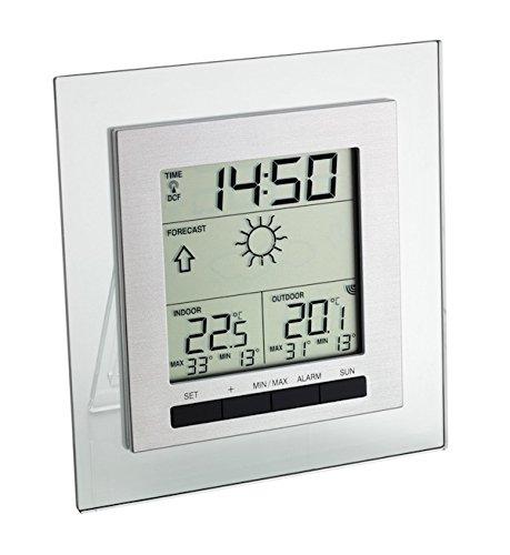 TFA Dostmann Square Funk-Wetterstation, Wettervorhersage, Lokale Außentemperatur, Raumtemperatur, Permanente Anzeige der Höchst-und Tiefstwerte, Funkuhr -