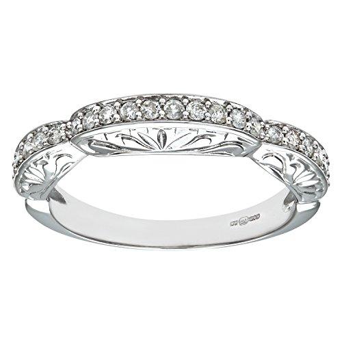 Naava Anillo para Mujer de Oro Blanco 9K con Diamante Redondo 0.014 ct talla 14