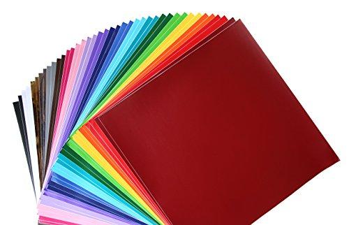 Permanentes Outdoor-Vinyl 40er Pack, 2 Blatt je sortierter Farbe, 30,5 x 30,5 cm Selbstklebefolie zur Verwendung mit Silhouette, Cricut und anderen Messern.