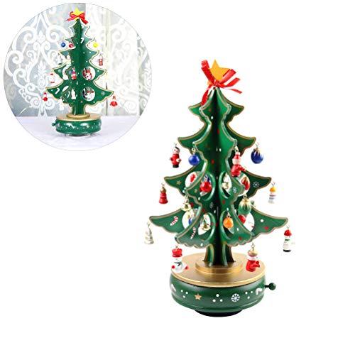 BovoYa Mini Desktop Weihnachtsbaum, DIY hölzerner Weihnachtsbaum mit Anhänger Glocken Puppen Musik Weihnachtsdeko Geschenke 30 * 11 cm