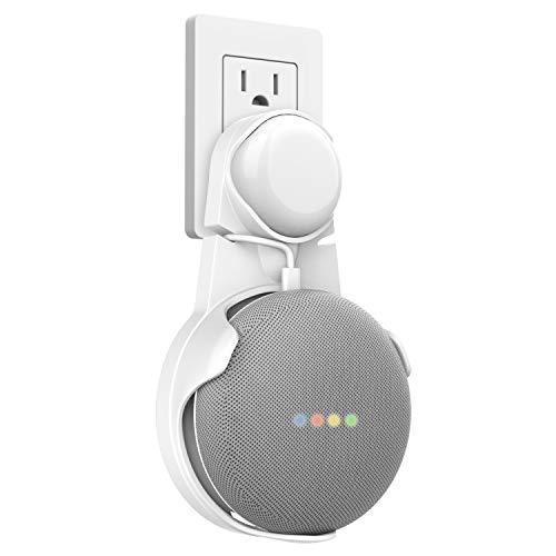 MoKo Soporte de Pared Outlet para Google Home Mini Asistente de Altavoz, Altavoz Inteligente, Manejo de Cable Incorporado, Blanco