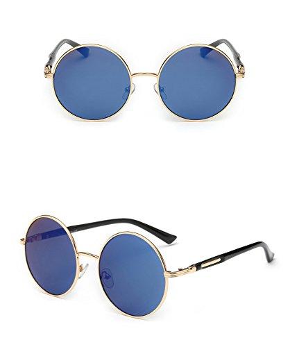 BCX BXH Paar Sonnenbrille - Retro Runde Rahmen Prince Spiegel Metallrahmen Sonnenbrille Reflektierende Farbe Film Sonnencreme Sonnenbrille Männer und Frauen,Blau,Sonnenbrille