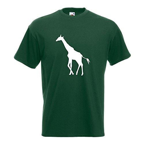 KIWISTAR - Giraffe Silhouette T-Shirt in 15 verschiedenen Farben - Herren Funshirt bedruckt Design Sprüche Spruch Motive Oberteil Baumwolle Print Größe S M L XL XXL Flaschengruen