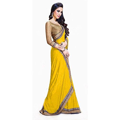 TRYme Fashion Georgette Yellow Women's Heavy Saree