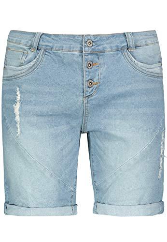 Fresh Made Boyfriend Jeans I Jeans-Shorts Used Look für Damen - Top Qualität Dank hohem Baumwollanteil Light-Blue S