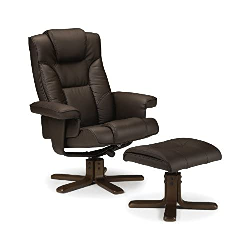 Julian Bowen Malmo Recliner And Footstool, Easy Care Faux Leather   Brown