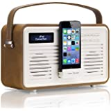 View Quest Retro ColourGen DAB+ Radio with Lightning Dock - Brown