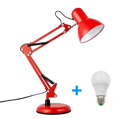 LED Tischlampe, WeGood LED Schreibtischlampe Portable Lampe Reading Light mit Verstellbarem Arm für Augenpflege Lesen mit Glühbirne (Clip + Basis Rot)