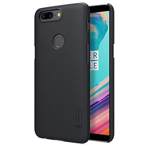 Nillkin OnePlus 5T Hülle, Frosted Shield Serie [Mit Telefon Ständer] Ultra Slim PC Material Schutzhülle Stoßfest Handyhülle Rückseite Hard Case Back Cover für OnePlus 5T (Schwarz)