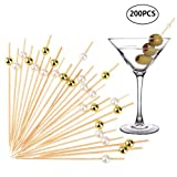 uarter Cocktail Sticks – 11,9 cm Einweg Bambus Cocktail Stick Zahn Pick, 200 Stück Pack