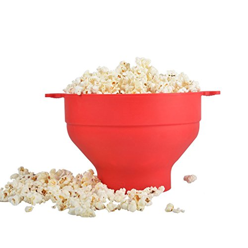 Popcorn Maker - Silicone Popcorn Maker - Microwave Silicone Popcorn Popper Collapsible Bowl with Lid and Convenient Handles - Cook Healthy Popcorn By KARP - Red Color