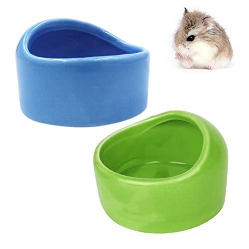 POPETPOP Ceramic Hamster Bowl-2Pack Kleintierfutterschale und Wasserschale für Meerschweinchen-Rennmaus-Mäuse Igel Chinchilla Sugar Glider Rat Kitten Blue Sugar Bowl