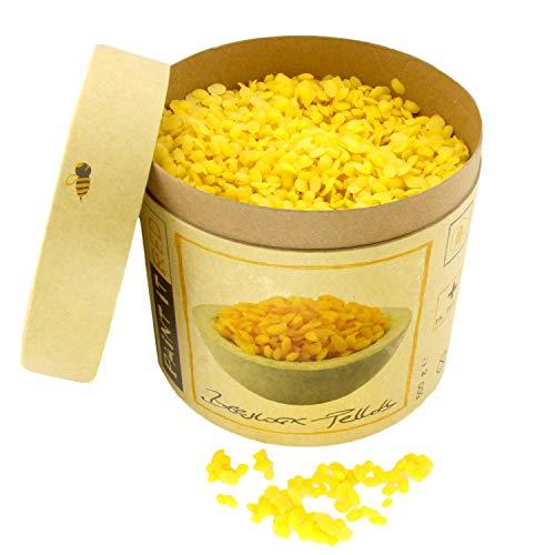 100% Premium BIENENWACHS Bio für Kosmetik | Europharm Norm (Ph. Eur.) | 500 g Reine Bienenwachs - Pastillen | Pellets für Salben, Lippenbalsam, Seifen, Cremes, Lotionen und Kerzen | Granulat gelb - Heilende Feuchtigkeitsspendende Balsam