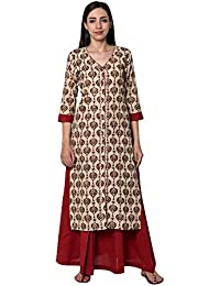 Pink Lemon Beige Paisley Printed Cotton Kurta with solid Red Pleated skirt (set of 2)