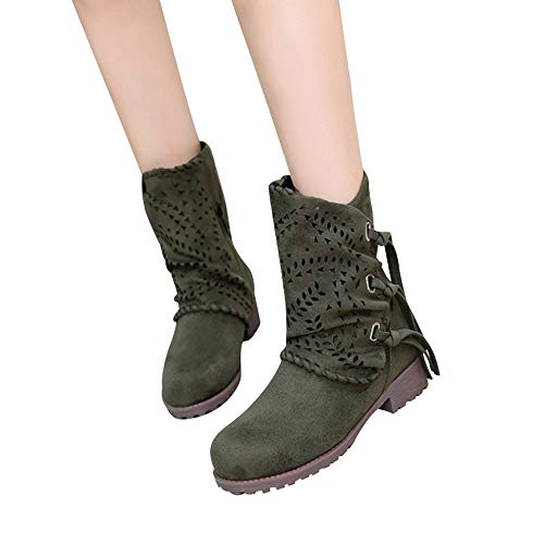 SUCES Damen Stiefeletten Frauen Mode Aushöhlen Boots Quaste Wildleder Stiefel Patchwork Schick Low Heel Schuhe (Schwarz,37)