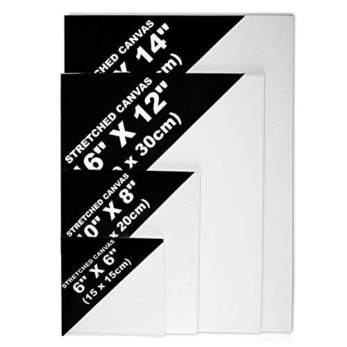 4 Teiliges Leinwand Set - Weiße Künstler Leinwände - Leinwand Tafeln Zum Bemalen- Acryl Malerei - Weiße, bespannte Leinwände für Öl- und Acrylmalerei in Verschiedenen Größen mit Hölzernen Keilen