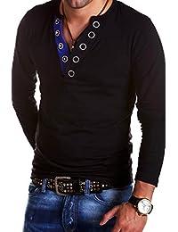 MyTrends - T-shirt tendance à manches longues et patte de boutonnage - BL-624