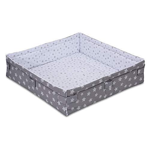 FabiMax Laufgittereinlage 100x100 cm, Sterne weiß/grau