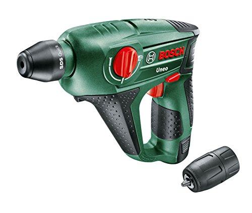 Preisvergleich Produktbild Bosch DIY Akku-Bohrhammer Uneo, Akku, Ladegerät, Rundschaftadapter, 2 SDS-Quick Betonbohrer, 2 Hex-Schaft Bohrer, 4 Bits, Koffer (12 V, 2,5 Ah, 10 mm Bohr-Ø Beton)