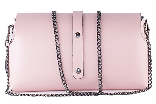 BORDERLINE - 100% Made in Italy - Pochette in Vera Pelle - EVELINA G. Rosa