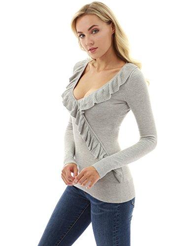PattyBoutik Damen Rüsche V Hals Faux Wrap Strick Pullover (hellgrau 36/S) (Pullover Wrap)