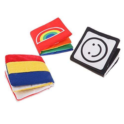 perfeclan 3pcs Juguete Montessori Libro de Tela Blando Sensorial Herrameinta de Enseñanza Preescolar para Niños