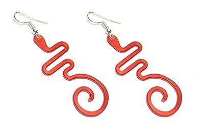Boucles d'oreilles en aluminium anodisé.Couleur rouge.Modèle Astrolabe